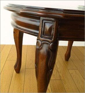 マホガニーオーバルローテーブル猫脚(3)