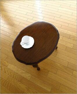 マホガニーオーバルローテーブル猫脚(4)