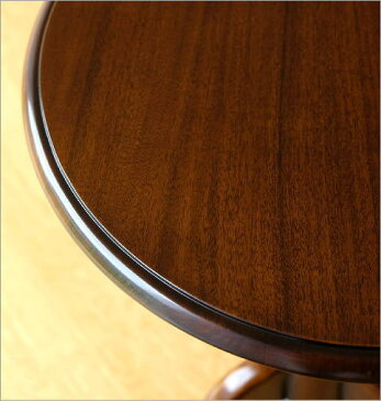 マホガニー無垢材 サイドテーブル 天然木製 コーヒーテーブル カフェテーブル 丸テーブル ソファーサイドテーブル 円形 ウッド アンティーク家具 おしゃれ コーヒーテーブル 丸テーブル 木製 無垢材 アジアン家具 完成品 送料無料 マホガニーラウンドテーブルB