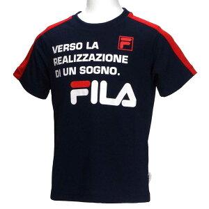 半袖Tシャツ/フィラ(FILA)ジュニア(D1904)肩切替45紺/赤