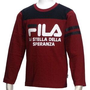 長袖Tシャツ/フィラ(FILA)ジュニア(D3806)長袖Tシャツ24エンジ/黒