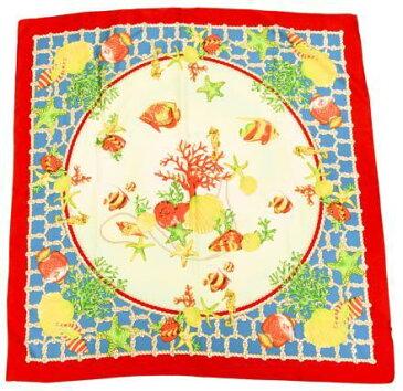【中古】Tie Rack タイラック tie rack 大判スカーフ サンゴ ポリエステル 赤×水色 スカーフ