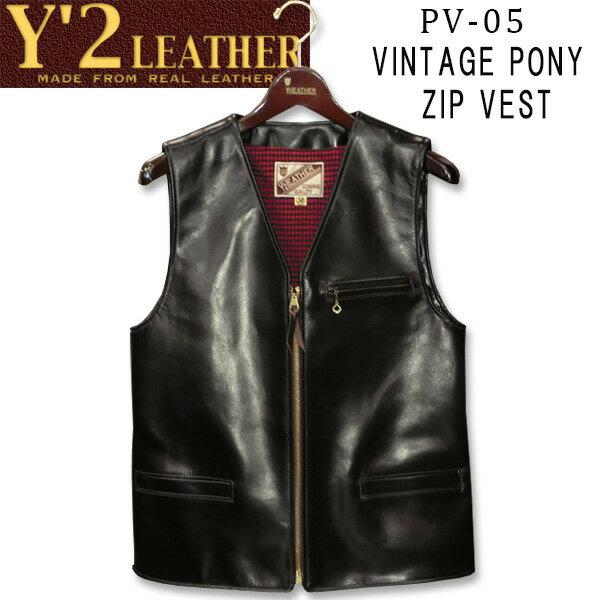 トップス, ベスト・ジレ  Y2 LEATHER VINTAGE PONY ZIP VESTPV-05()