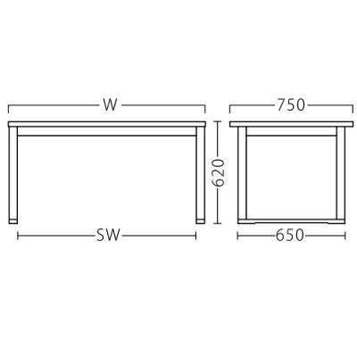 【大和テーブル(白木)】プロシード幅1500×奥行750×高さ620(mm)【業務用】【新品】【送料無料】
