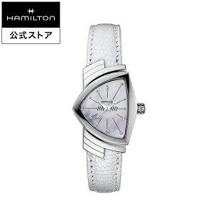 ハミルトン 公式 腕時計 HAMILTON Ventura ベンチュラ クオーツ クォーツ 24.00MM レザーベルト マザーオブパール × ホワイト H24211852 レディース腕時計 女性 正規品 ブランド