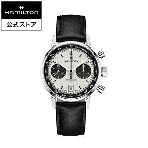 ハミルトン 公式 腕時計 HAMILTON American Classic Intra-Matic アメリカンクラシック イントラマティック オートクロノ オートマティック 自動巻き 40.00MM レザーベルト ホワイト × ブラック H38416711 メンズ腕時計 男性 正規品 ブランド