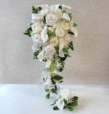プリザ&シルクフラワー(造花)ブーケブライダルブーケ20000セミキャスケードブーケ【カラー&ローズ】約W20~25cm×H40~50cm