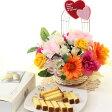 母の日 スイーツ・お菓子 アートフラワー 造花和三盆カステララスク&サンキューハートアレンジ高さ26cmプレゼント 花 ギフト