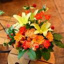 いい夫婦の日 御祝 開店祝い 送料無料 おまかせ!黄色オレンジ系フラワーアレンジメント 花ギフト 結婚記念日 (就任 送別 誕生日 などにも) お祝い 40