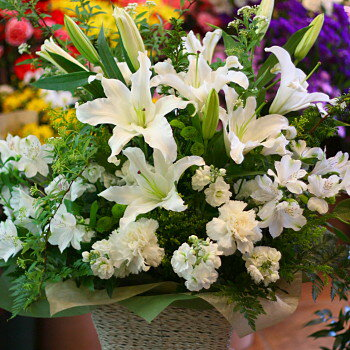 誕生日 お祝い 開店祝い プレゼント おまかせ ホワイトのフラワーアレンジメント 花 人気ランキング 花ギフト 花束 結婚記念日 (就任 送別 誕生日 などにも) バラ 就任 送別 68