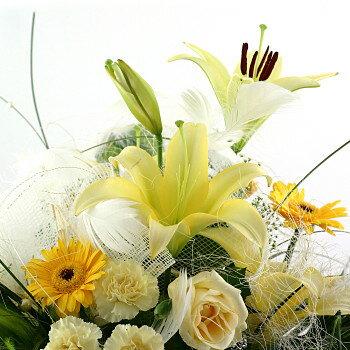 送料無料 お中元 開店祝い 開院祝い プレゼント おまかせ 黄色オレンジ系フラワーアレンジメント 花 人気ランキング 花ギフト 花束 結婚記念日 (就任 送別 誕生日 などにも) バラ 就任 送別 83