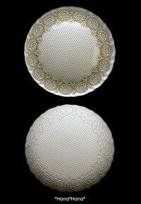 コンテスホールケーキプレート33cmホワイトゴールドガラス