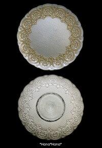 コンテスケーキスタンド28cmホワイトゴールドガラス