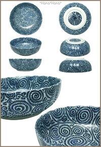 藍染タコ唐草/菊型17cm浅中鉢