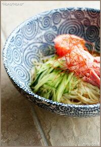 藍染タコ唐草/21.5cm冷麺鉢・中鉢