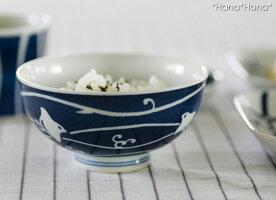 藍千鳥茶碗波佐見焼