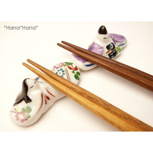 Hina doll chopstick rest set of 2 // Mino ware Japanese-style ware Cashless reduction