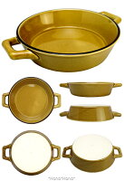 キャラメルブラウン両手付きグラタン皿直径16.2cmL21cm