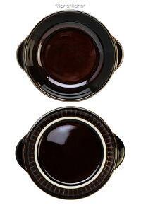 アメブラウンライン入り耳付き丸グラタン皿直径15.6cmL18.5cm