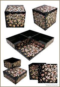 さくら5.0三段重箱15cm漆器