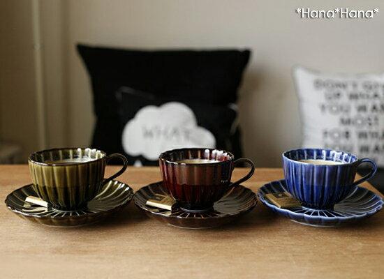 カネコ小兵 ぎやまん陶 菊形コーヒーカップ&ソーサー ブルー/ブラウン/グリーン//美濃焼 和食器