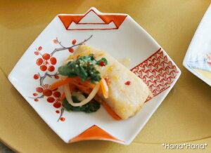 錦地紋に梅 折紙型 豆皿 10.5cm 有田焼// 和食器 食器 正月 キャッシュレス 還元