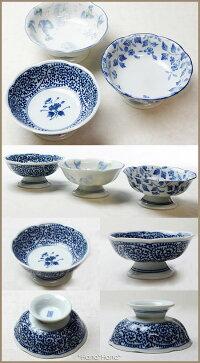 藍染花型高台小鉢