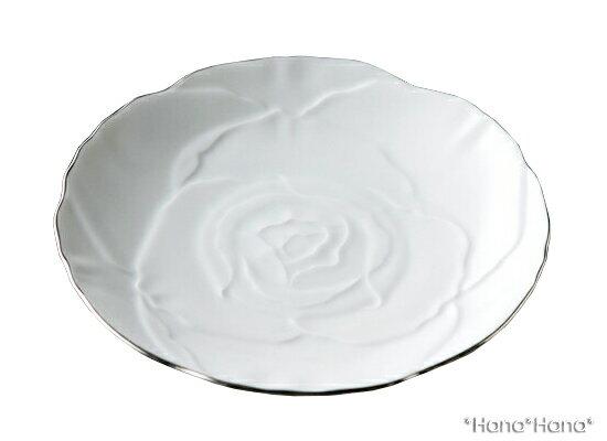 ローゼ 薔薇 ケーキプレート 19cm ホワイト プラチナライン//美濃焼 お皿 おしゃれ