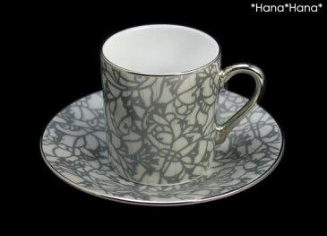 エスプレッソコーヒー カップ&ソーサー シルバーフラワー