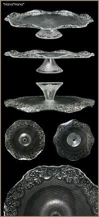 オフェーリアガラスプレート(台付)ケーキスタンド