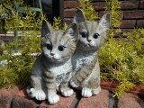 ガーデニング雑貨ガーデンねこキャット置物樹脂アニマル動物雑貨【花遊び】『2匹の子猫』