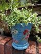 ガーデニング ガーデン 植木鉢 バラ ローズ 雑貨プランター 寄せ植え アンティーク【花遊び】『カラフルローズラウンドポット・ブルー』【8月下旬のお届け予定です】