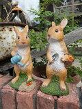 うさぎラビットバード置物樹脂アニマル動物雑貨ガーデニングガーデン【花遊び】『ツインラビット』