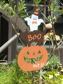 ハロウィンかぼちゃパンプキンオーナメントガーデニングガーデンアンティーク【花遊び】『バットガイドサインピック』