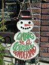 クリスマス ツリー ステンドグラス 置物 スタンド樹脂 雑貨 ガーデニング ガーデン【花遊び】『ハンギング♪クリスマスhappyスノーマン・A』