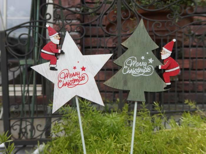 クリスマス サンタ スノーマン ガーデニング ガーデン『サンタ スター&ツリーピック』