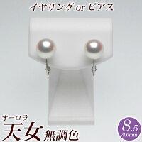 オーロラ天女花珠真珠パールイヤリング(またはピアス)8.5mm-9.0mm無調色ブルーイッシュピンク商品番号:P58985