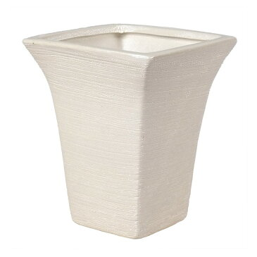 NINDEL/ブライトグリッターコンポート角 ミルキーホワイト/SS220-F【01】【取寄】[2個]《 花器、リース 花器・花瓶 陶器花器 》
