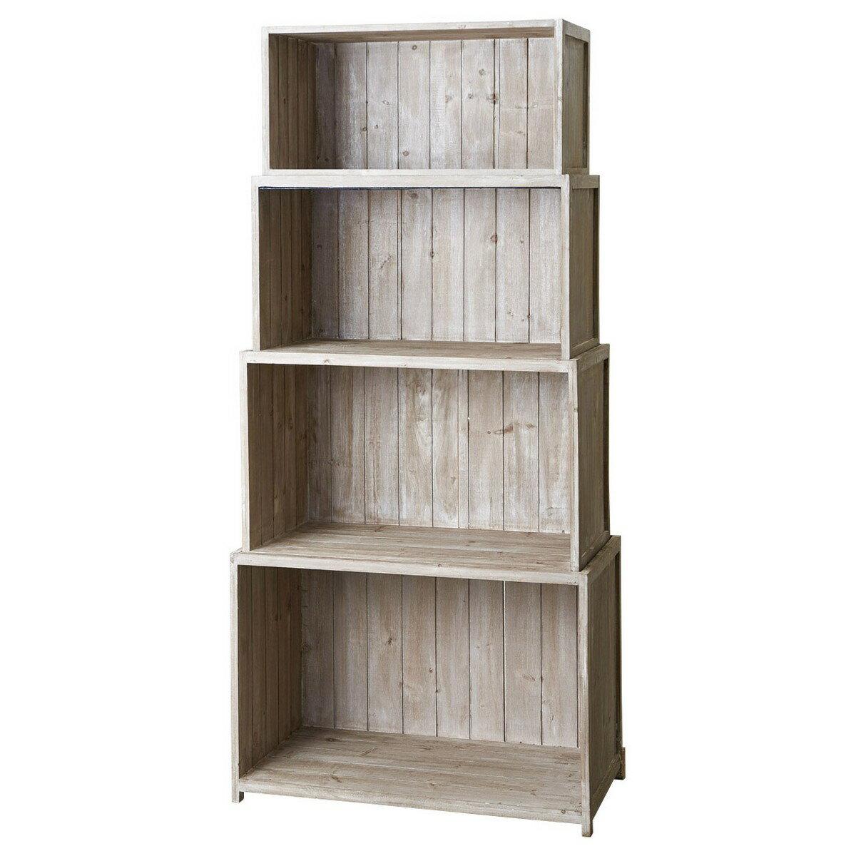 スタッキングウッド棚MZ-01 ナチュラルホワイト/193-1-1【02】《 インテリア雑貨 家具・収納 小物収納・収納ボックス 》 《 インテリア雑貨 家具・収納 小物収納・収納ボックス 》
