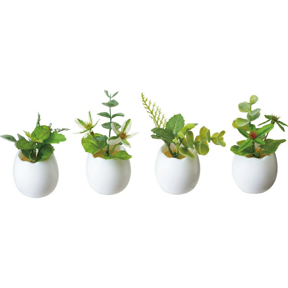 【造花】YDM/グリーンミックスエッグポット ※4種類のいずれか1つ。お選びいただけません。/GLA-1406-AST【01】【取寄】