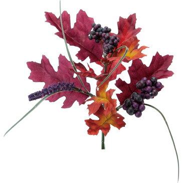 【造花】YDM/オークリーフミックスブッシュ パープル/FS-9009-PU【01】【取寄】《 造花(アーティフィシャルフラワー) 造花枝物 モミジ・イチョウ 》