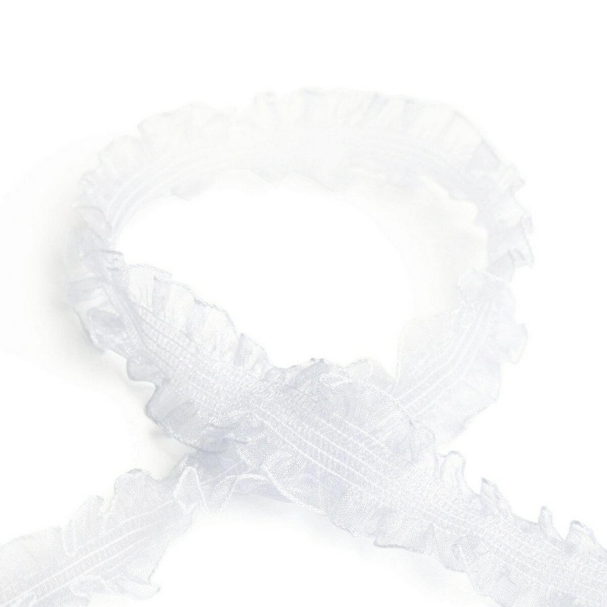 ゴム入りオーガンジーリボン 24mm×5m ホワイト