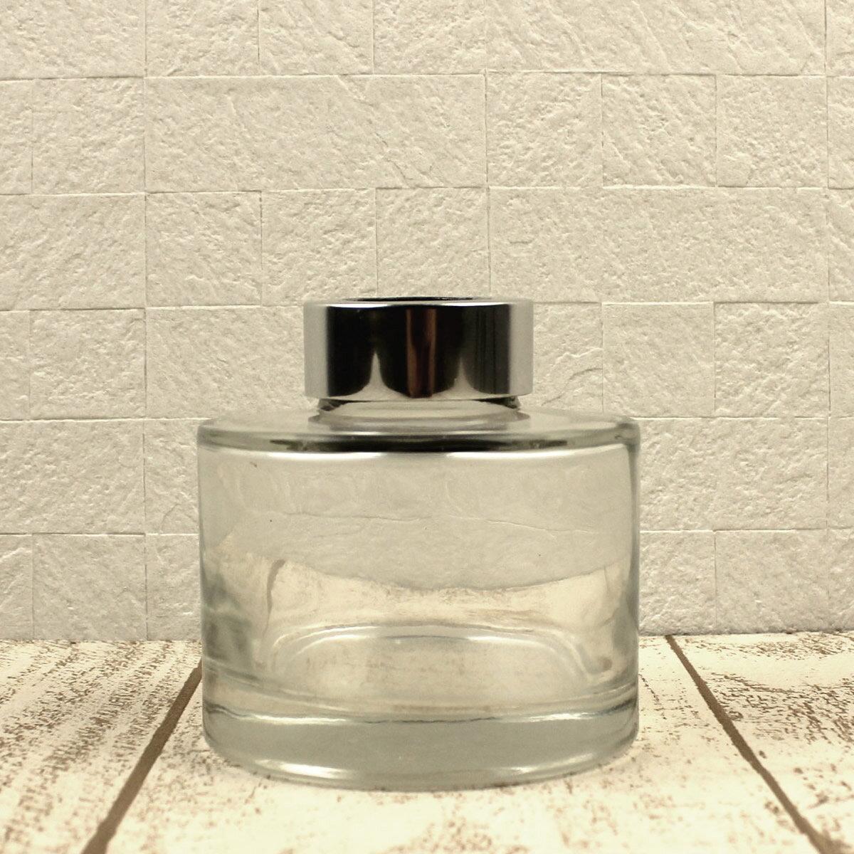 即日 リードディフューザー用ガラス瓶 丸型 150ml 銀カバー+中栓付 リードディフューザー リードディフューザー瓶・ボトル 手作り 材料