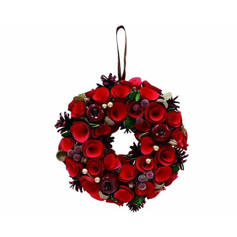 丸和貿易/グレイスリースクラシックアップルローズ(L)/400882902【01】【取寄】花器、リースリース完成品天然素材