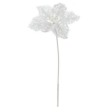 【造花】YDM/シャイニングシングルポインセチア ホワイト/FS6913-W《 造花(アーティフィシャルフラワー) 造花 花材「は行」 ポインセチア 》