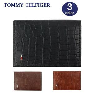 TOMMY HILFIGER カードケース 31TL200015 トミーヒルフィガー 名刺入れ クロコデザイン ロゴプレート レザー メンズ トミー ブランド ag-1695