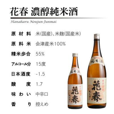 【クーポン使用で20%OFF!】日本酒花春濃醇純米酒1,800ml