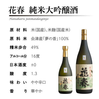 【クーポン使用で20%OFF!】日本酒花春純米大吟醸酒720ml