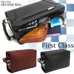 FirstClass革製WFセカンドバッグ[3006]黒茶ブラックブラウン