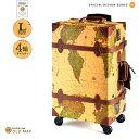 「マツコの知らない世界」で紹介されました。スーツケース HANAism トランクケース トランクキャリー Lサイズ4輪 [18/オールドマップ] キャリーケース レトロ アンティーク レザートランクキャリー TSAロックアップグレード